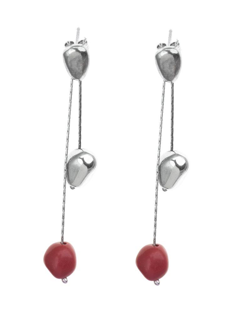 Σκουλαρίκια κρεμαστά από ασήμι με Quartz κόκκινη πέτρα
