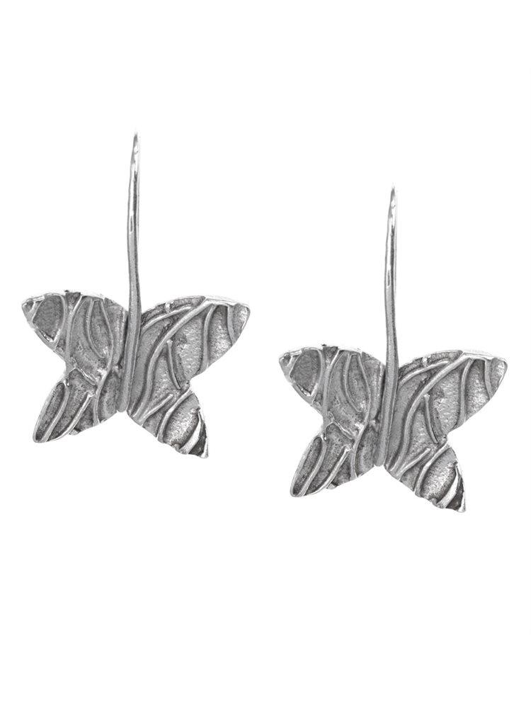 Σκουλαρίκια χειροποίητα κρεμαστά από ασήμι με πεταλούδες