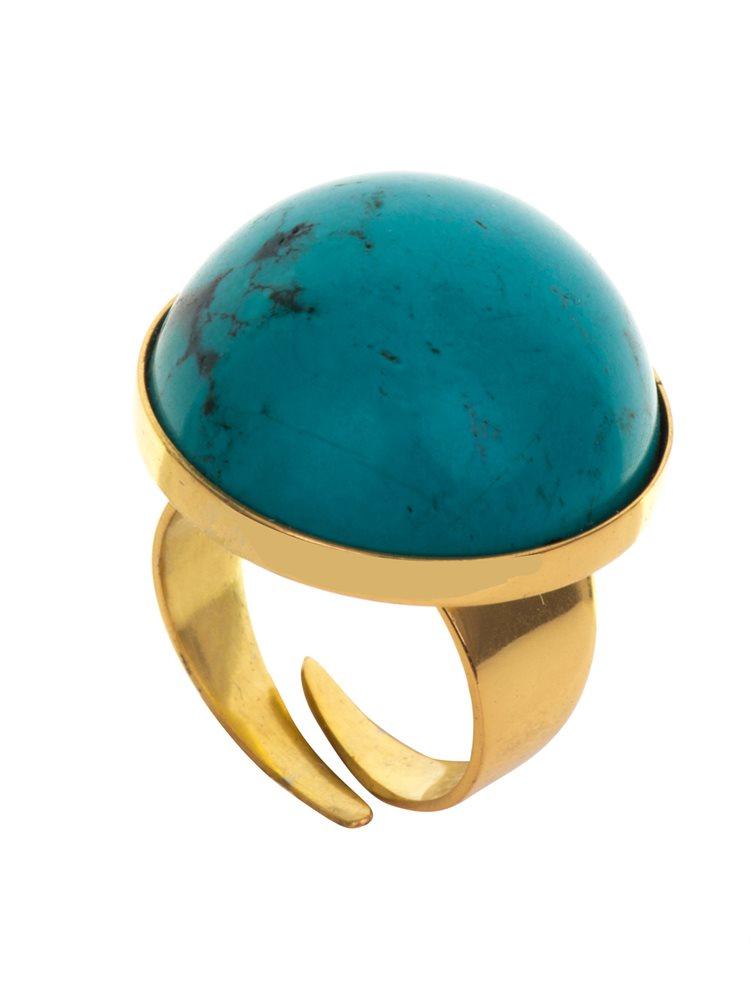 Δαχτυλίδι από επιχρυσωμένο ασήμι με πέτρα τυρκουάζ