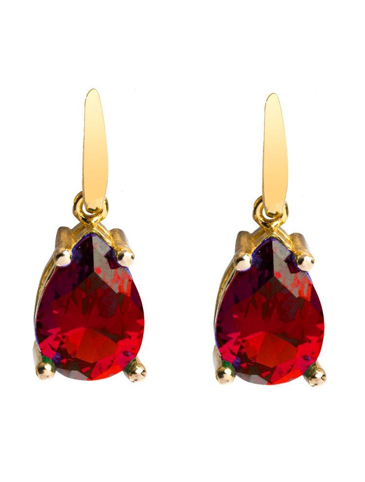 Εντυπωσιακά μακριά σκουλαρίκια από επιχρυσωμένο ασήμι με κόκκινη πέτρα