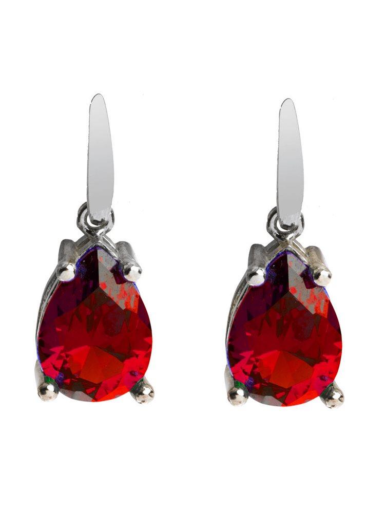 Εντυπωσιακά μακριά σκουλαρίκια από ασήμι με κόκκινη πέτρα