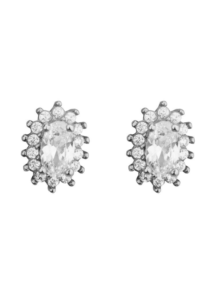 Σκουλαρίκια ροζέτες από ασήμι με πέτρες ζιργκόν σε χρώμα λευκό