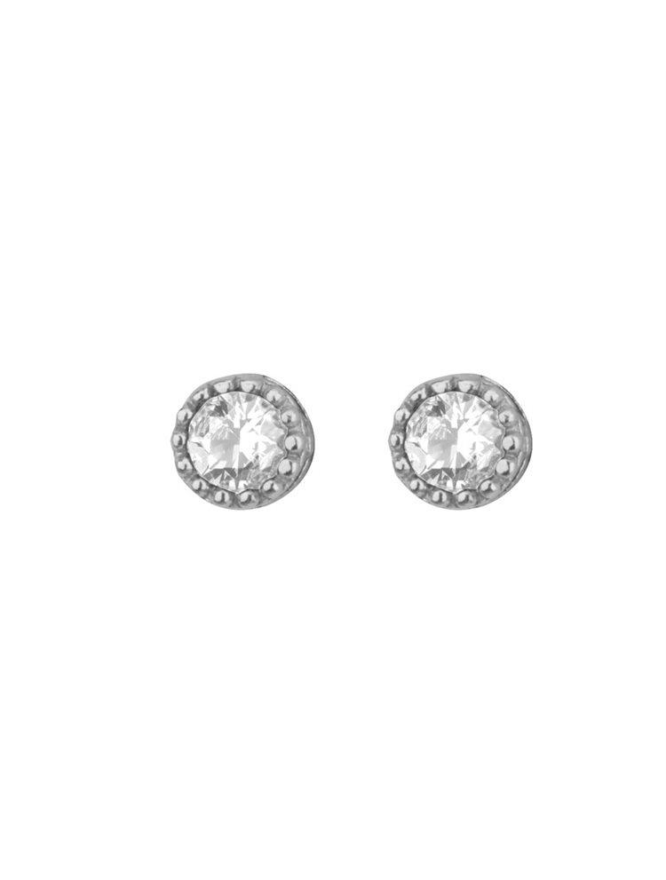 Σκουλαρίκια στρογγυλλά από ασήμι με πέτρες ζιργκόν σε χρώμα λευκό