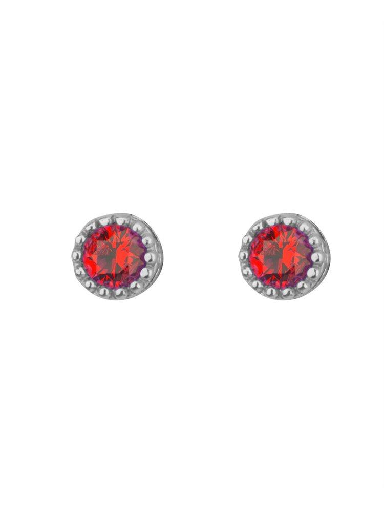 Σκουλαρίκια στρογγυλλά από ασήμι με πέτρες ζιργκόν σε χρώμα κόκκινο