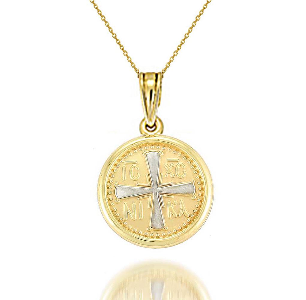 Χρυσό κολιέ 9 καρατίων φλουρί με εντούτο νίκα σταυρός (κωνσταντινάτο) 3981acd25f3