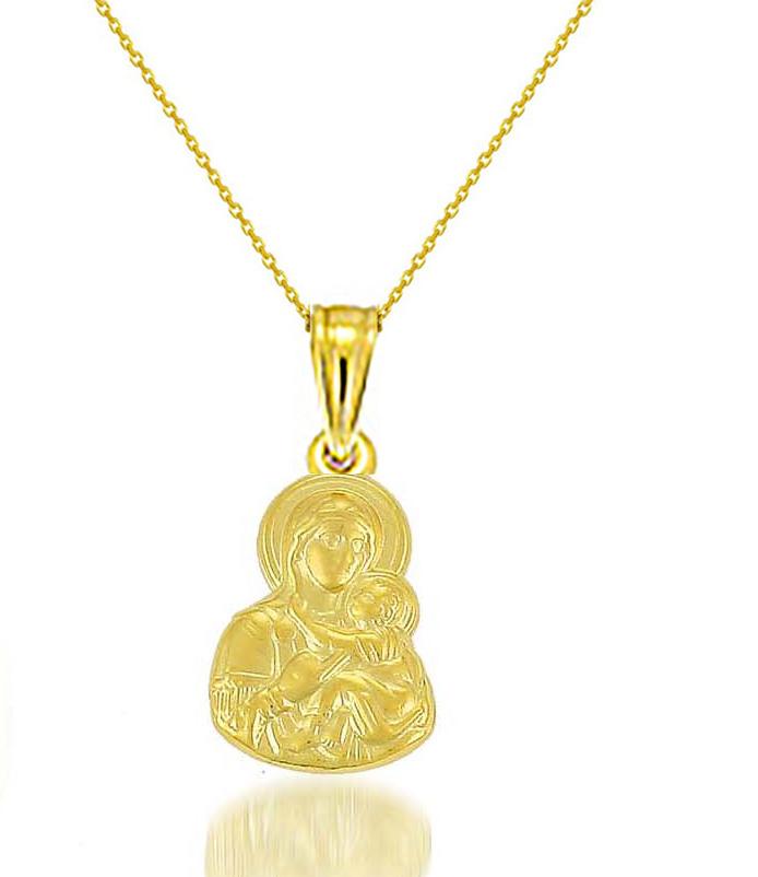Κολιέ με την Παναγία σε χρυσό 9 καρατίων ca45ce4a912