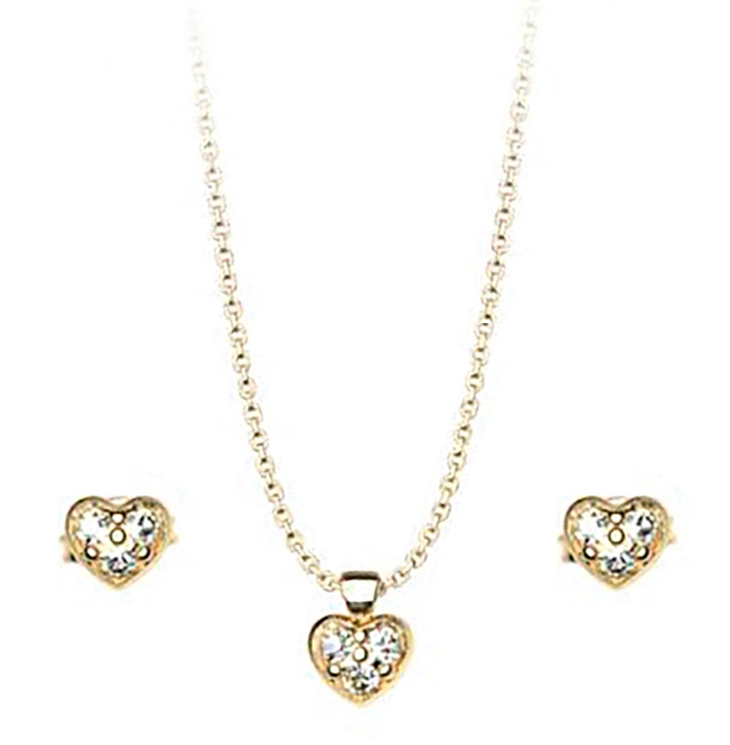 Σέτ κολιέ και σκουλαρίκια συλλογή Love καρδιές από επιχρυσωμένο ασήμι με  πέτρες Swarovski b83680b34b5
