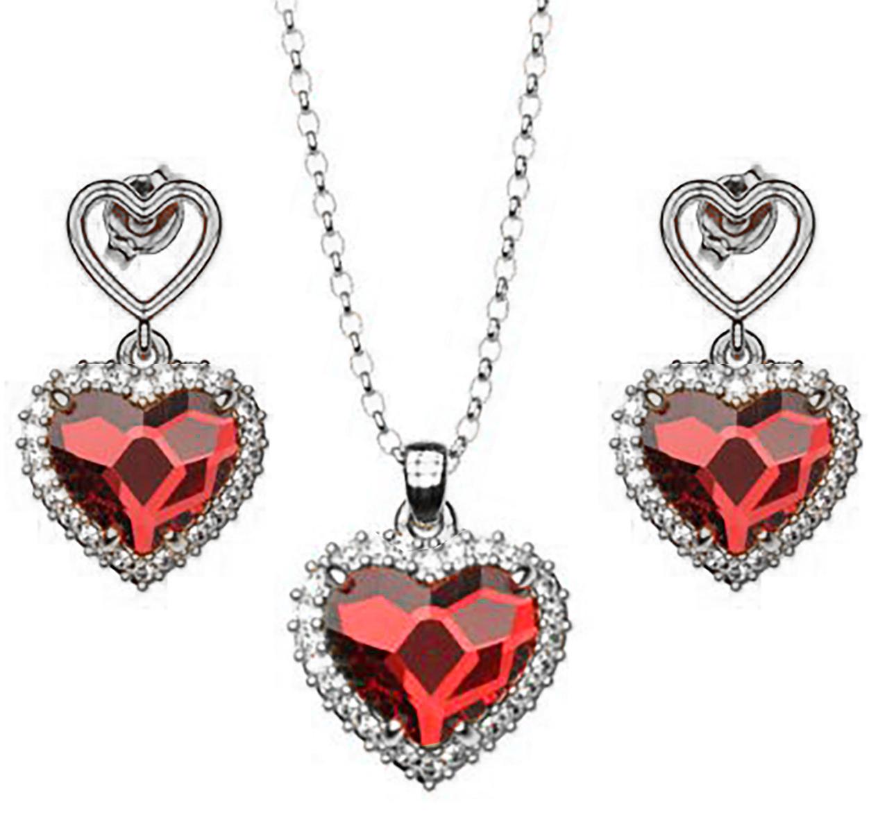 Σέτ κολιέ και σκουλαρίκια συλλογή Love καρδιές από ασήμι με πέτρες Swarovski 64cb965c3b5