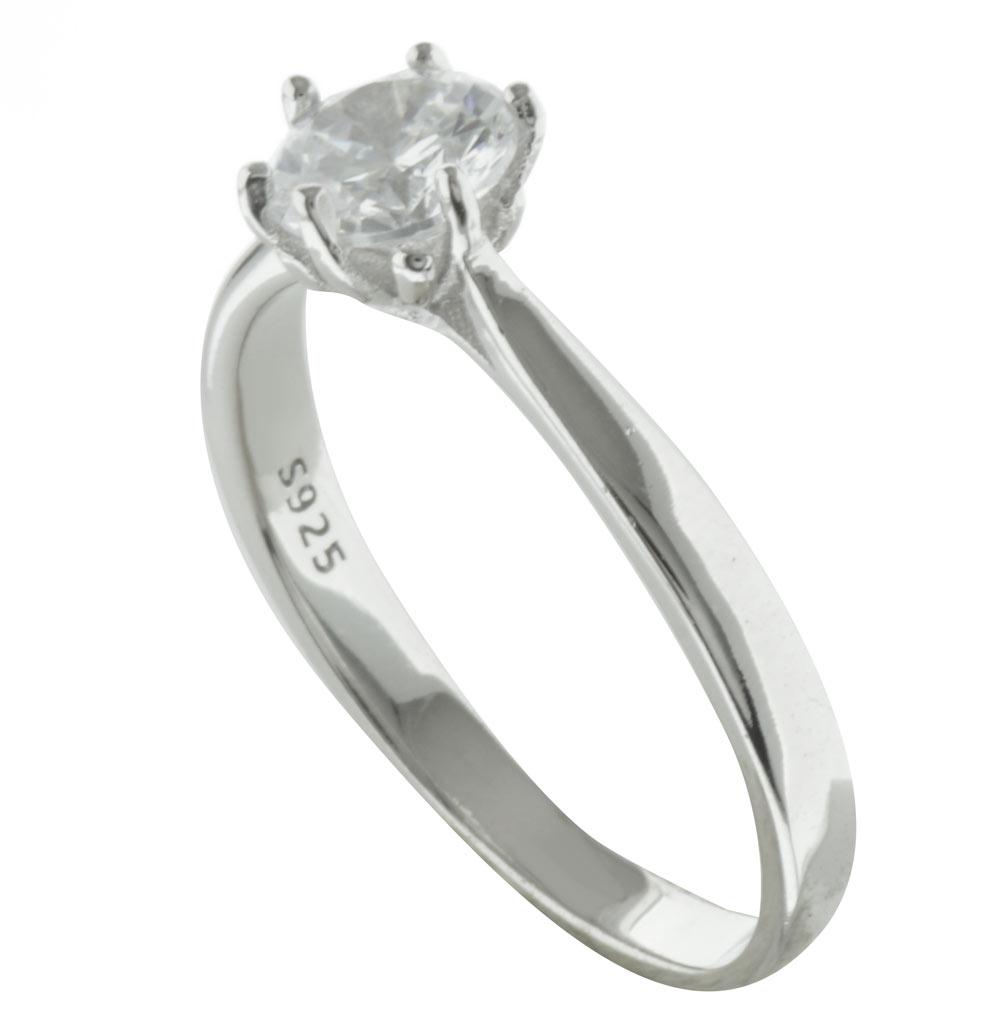 Μονόπετρο δαχτυλίδι από ασήμι με πέτρα ζιργκόν 8e0516b8445