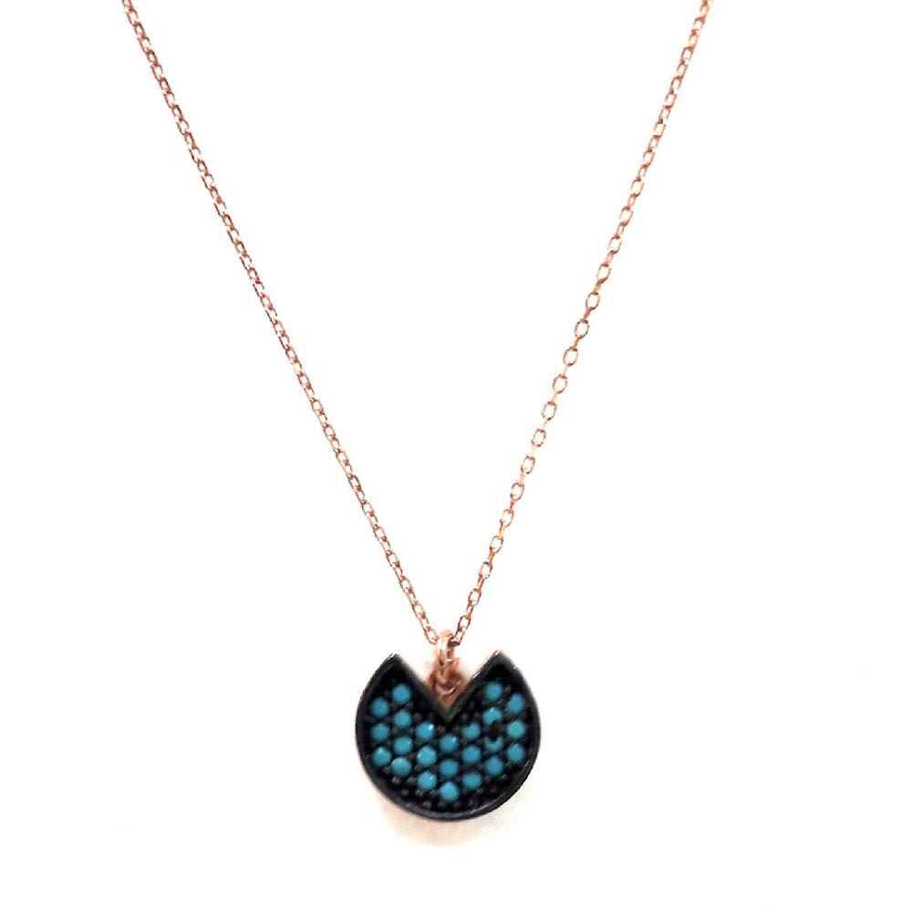98cc5b061 Κολιέ από ρόζ επιχρυσωμένο ασήμι με πέτρες τυρκουάζ