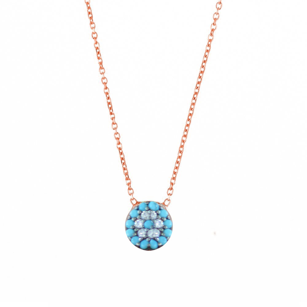 Κολιέ ματάκι από ρόζ επιχρυσωμένο ασήμι με πέτρες τιρκουάζ d4f3ebb6c39